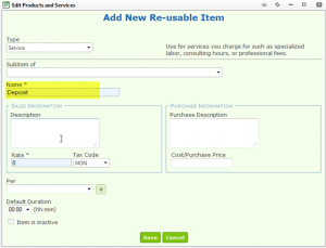 Create a Deposit item under Products and Services